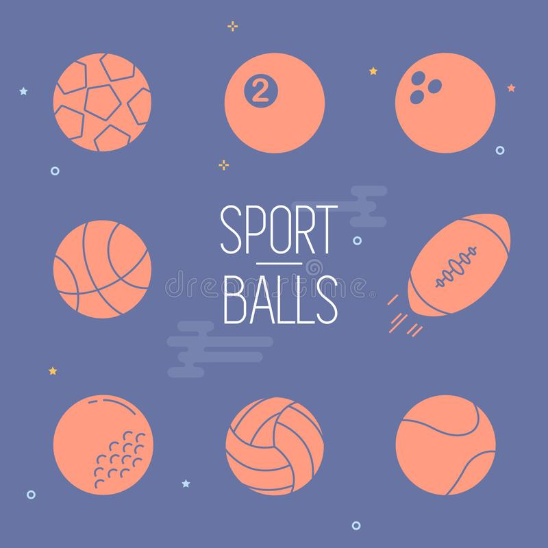 Sport balls colorful vector icon set on navy background. royalty free illustration