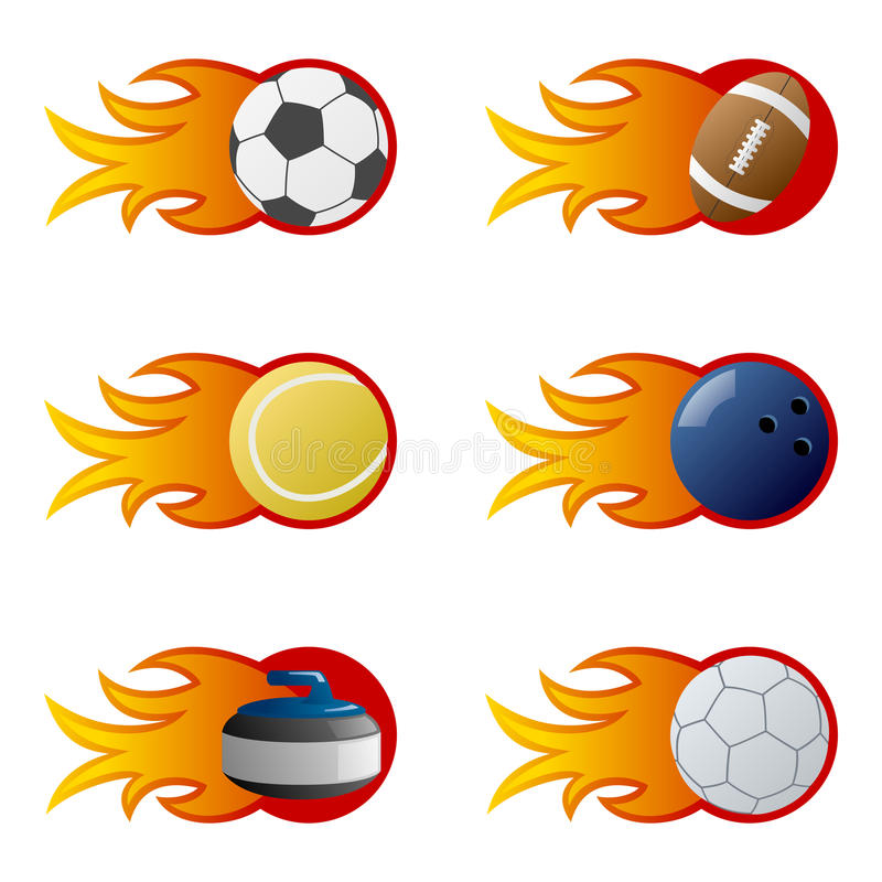 Download Sport Balls in Flames [2] stock vector. Image of colourful - 15193033