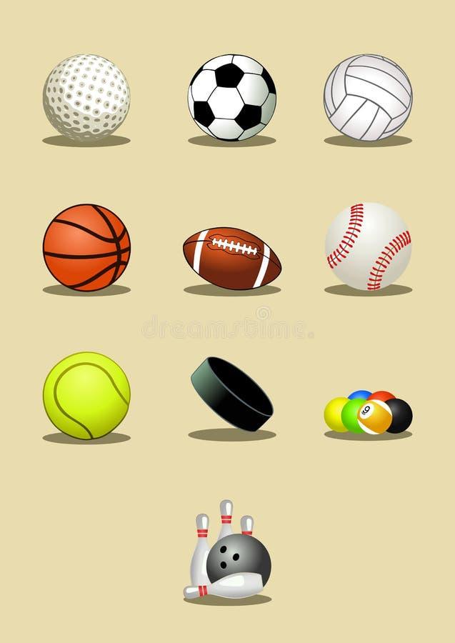 Sport balls icon set stock illustration