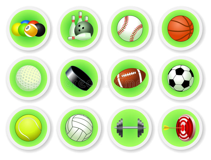 Download Sport balls icon set stock vector. Image of clip, hobby - 24107068