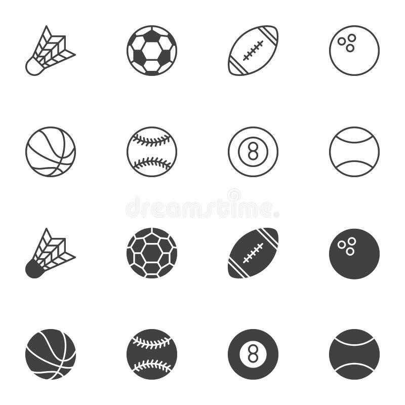 Sport balls icon set, line and glyph version stock illustration