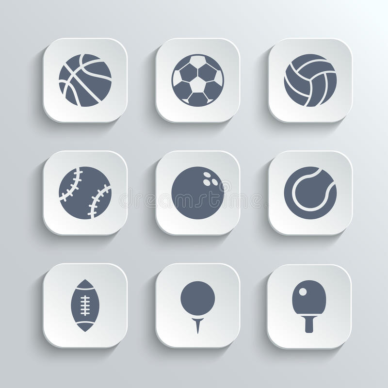 Sport balls icon set - vector white app buttons royalty free illustration