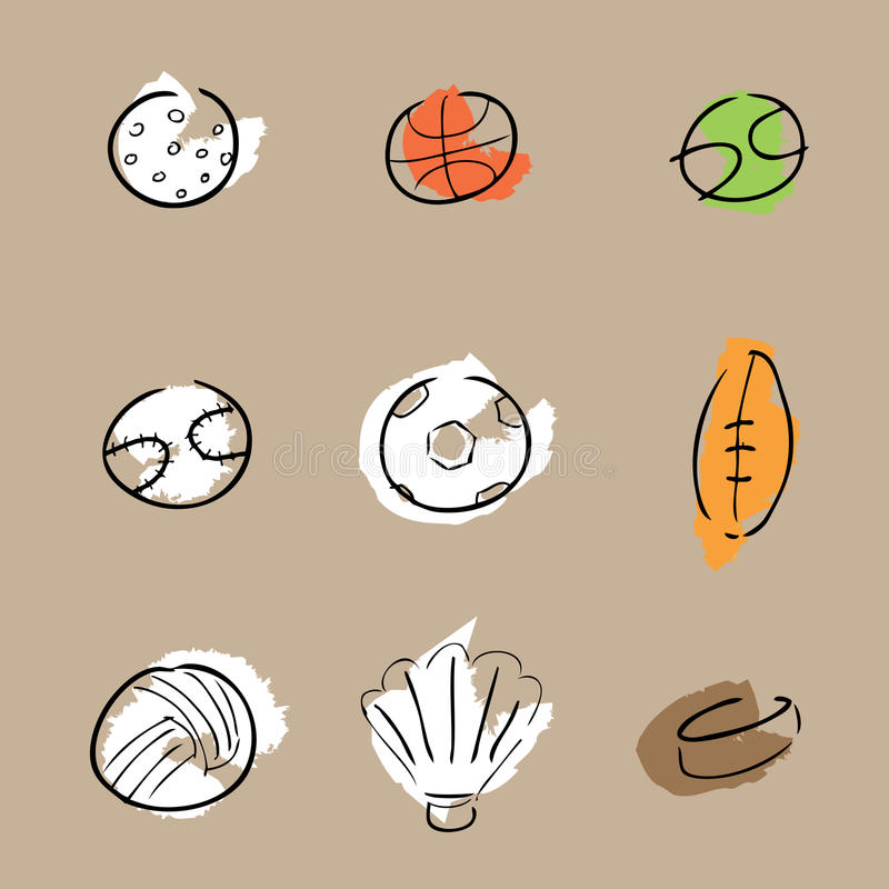 Sport balls icons set cartoon royalty free illustration