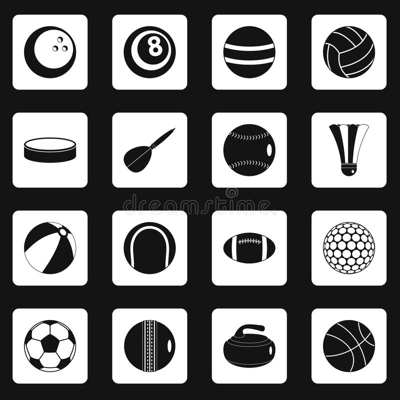 Sport balls icons set squares vector stock illustration