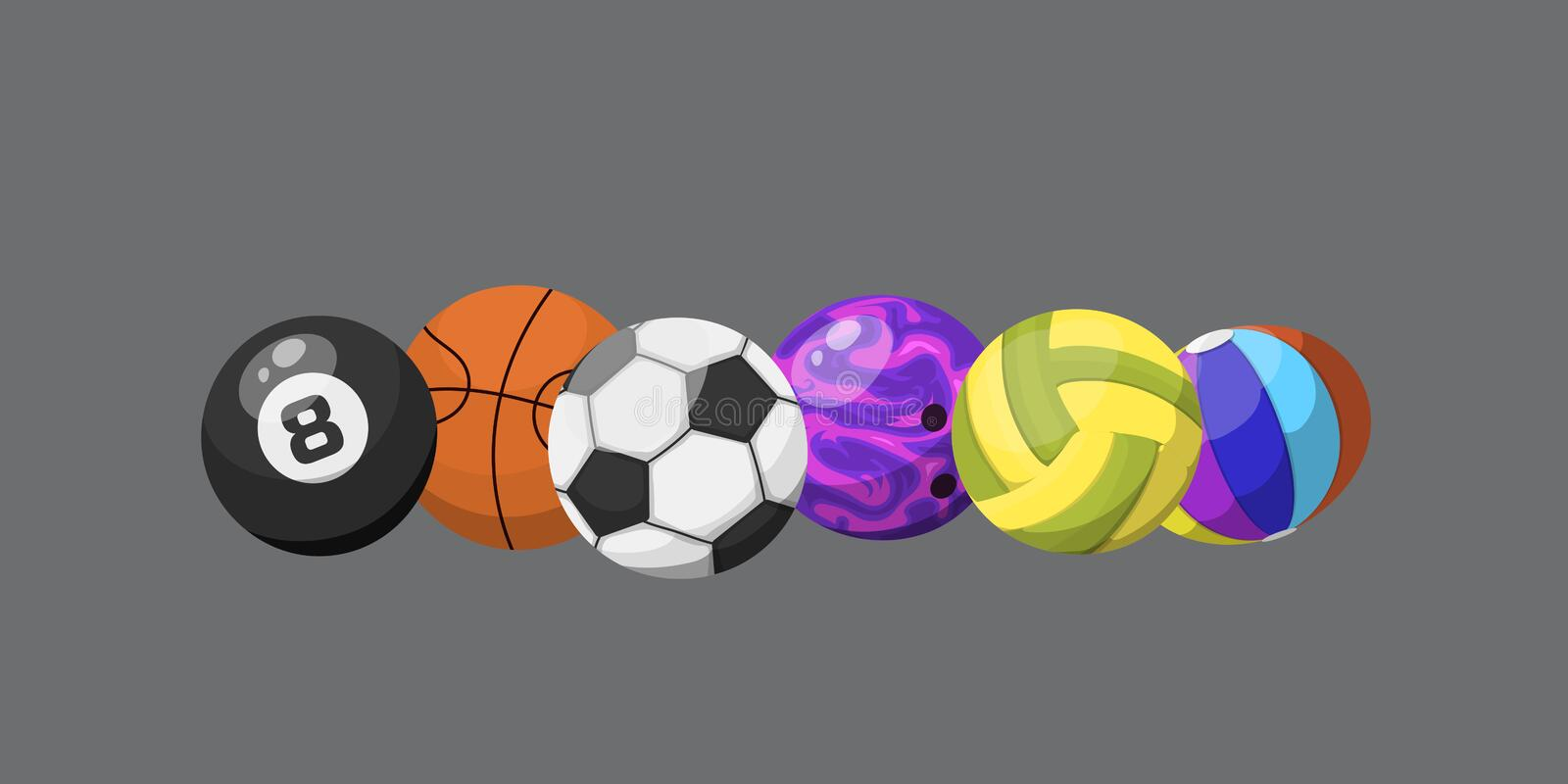 Sport balls isolated tournament win round basket soccer equipment and recreation leather group traditional different stock illustration