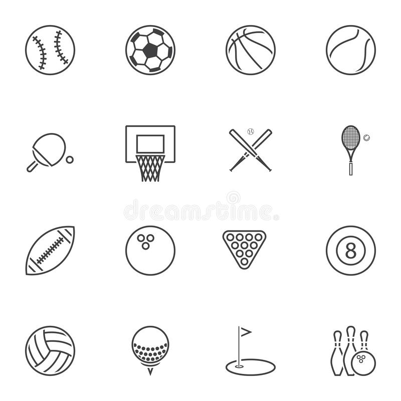 Sport balls line icons set. Linear style symbols collection, outline signs pack. vector graphics. Set includes icons as baseball, soccer, basketball, tennis vector illustration