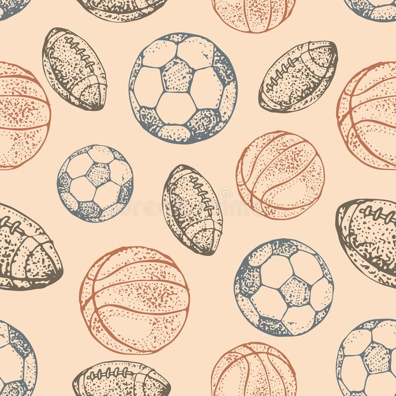 Sport balls seamless pattern. Hand drawn doodle icon football, basketball and soccer background of recreation and leisure. Vector royalty free illustration