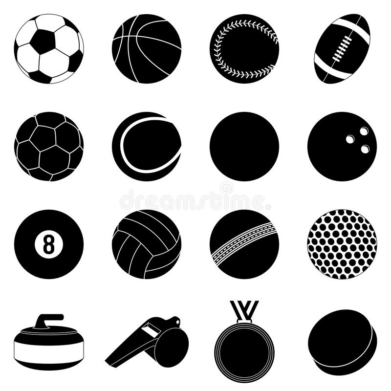 Sport Balls Silhouettes. Collection of 16 sport balls and accessories silhouettes, isolated on white background. Eps file available