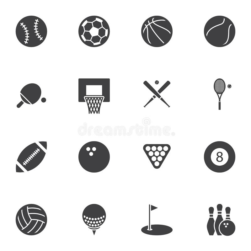 Sport balls vector icons set royalty free illustration