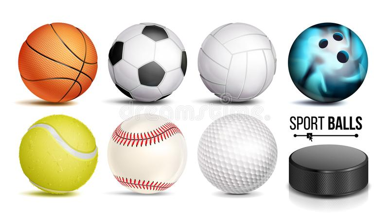 Sport Ball Set Vector. 3D Realistic. Popular Sports Balls Isolated On White Background Illustration royalty free illustration