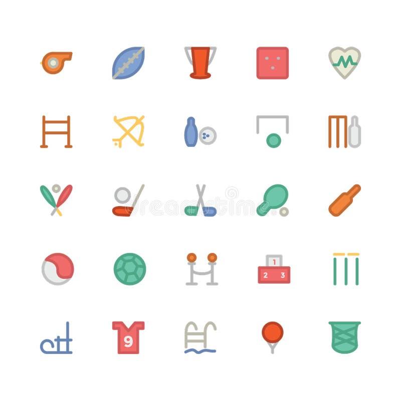 Sport Barwione Wektorowe ikony 3 royalty ilustracja