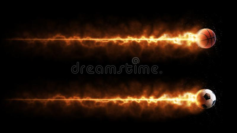 Sport. Basketball and soccer balls. Flying burning balls. Isolated in black background royalty free stock image