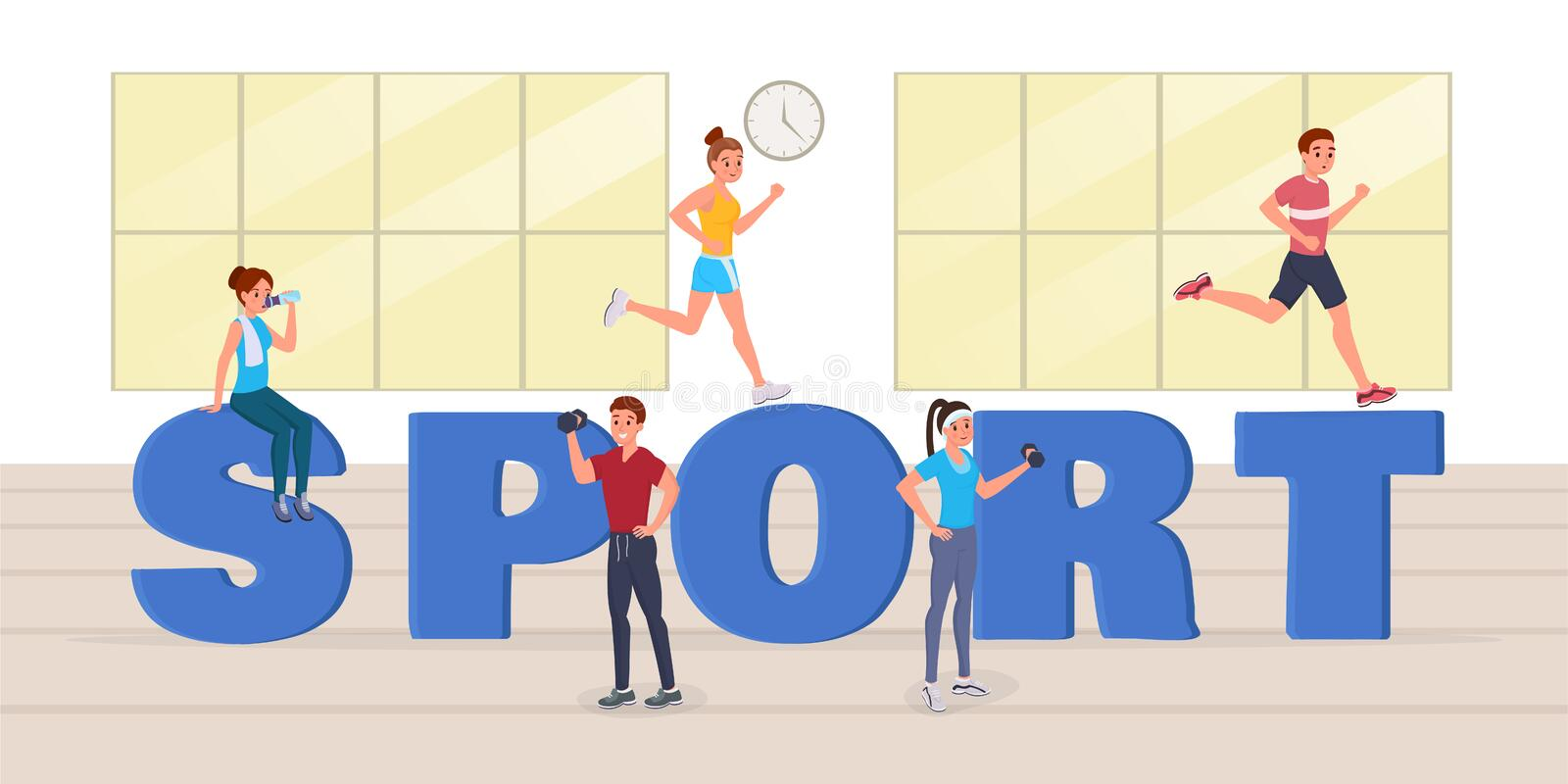 Sport big letters. Strong sports people having workout, doing sport, drinking water, running in gym near big sport letters flat style vector illustration royalty free illustration
