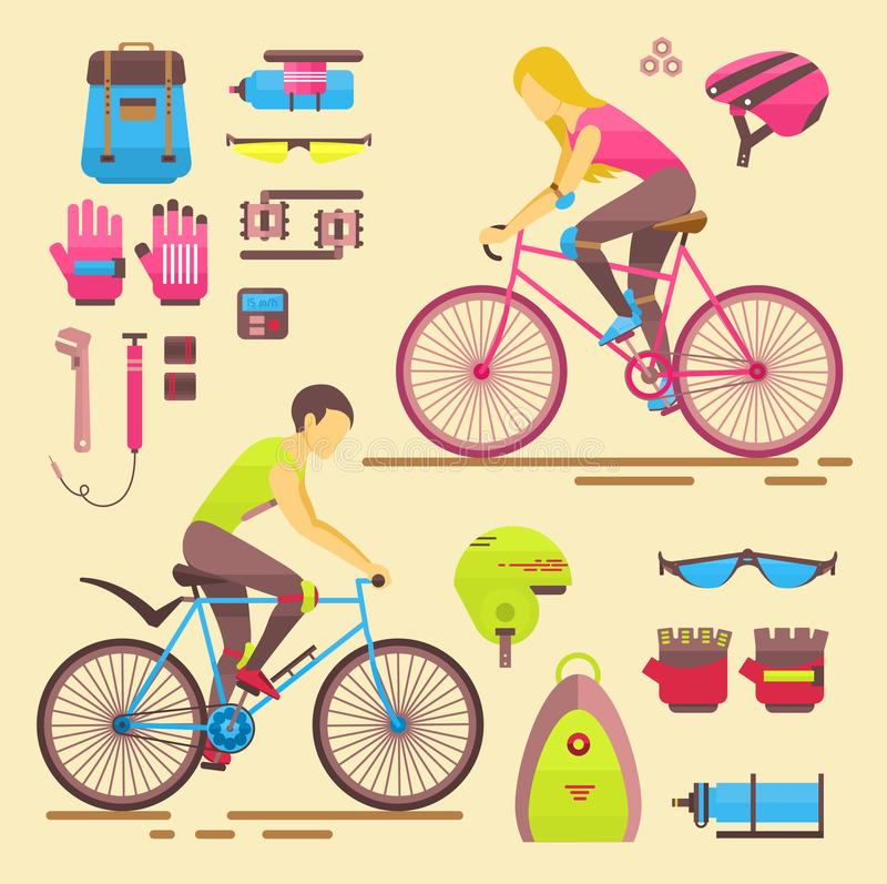 Sport bikers girl and boy people on bicycles activity fun woman and man on bicycles. Urban female biking sport and biker. Elements riders sportsman lifestyle vector illustration