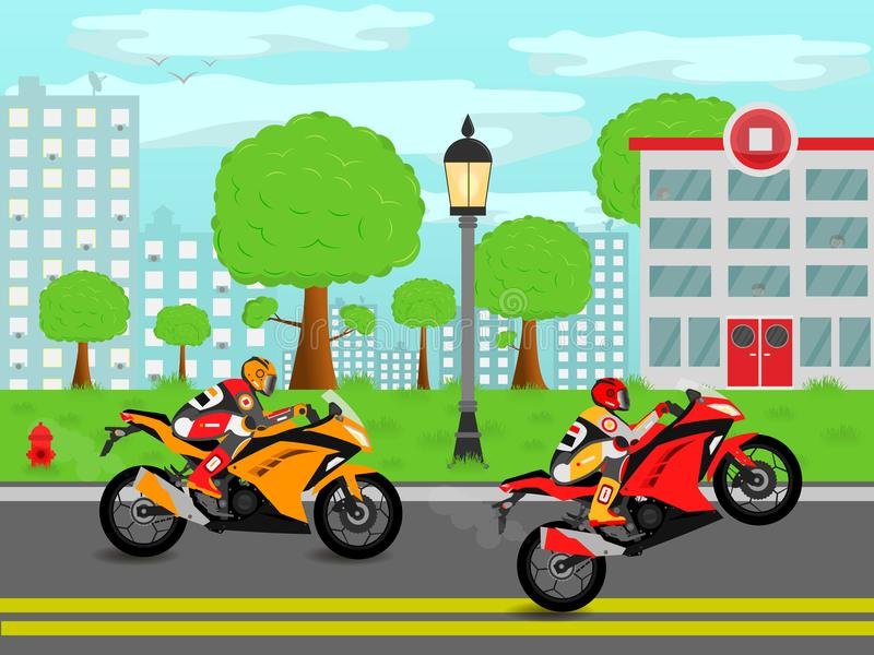 Sport bikes on the streets of the city. Fast and furious sport bikes on the streets of the modern city vector illustration