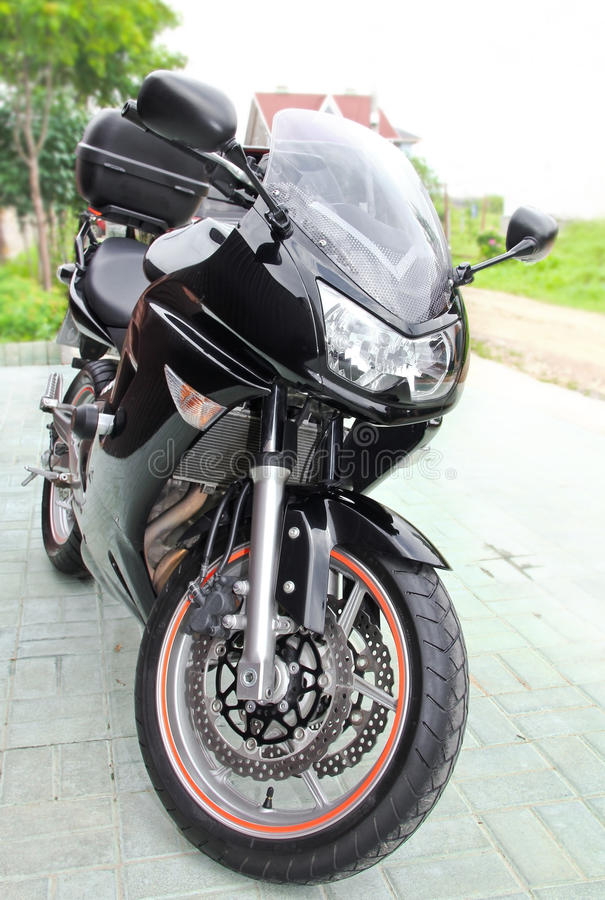 Sport black motorcycle royalty free stock photography