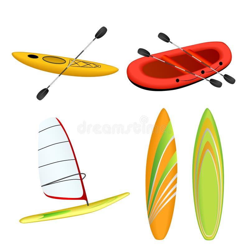 Sport boat red rafting yellow kayak orange green surfboard windsurfing illustration vector illustration