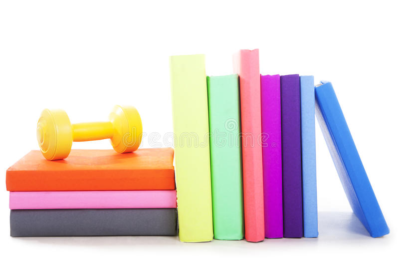 Sport Books With Dumbbell Stock Photo