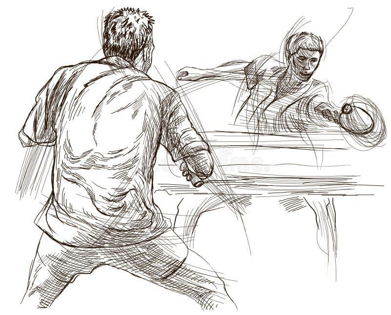 Sport bordtennis, bordtennis En dragen hand, linje konst, bild stock illustrationer