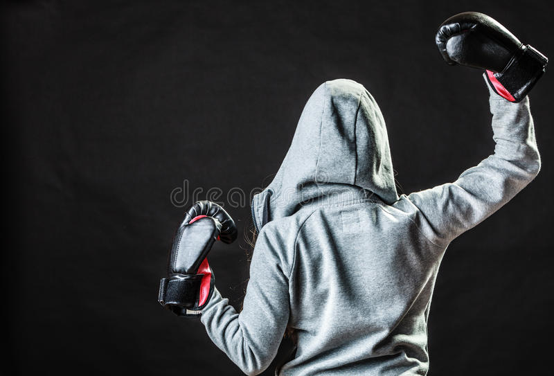 sport boxer woman in black gloves boxing stock image image of view fight 47711863. Black Bedroom Furniture Sets. Home Design Ideas