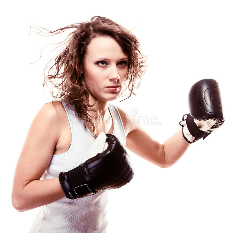 Download Sport Boxer Woman In Black Gloves. Fitness Girl Training Kick Boxing Royalty Free Stock Photo - Image: 36422185