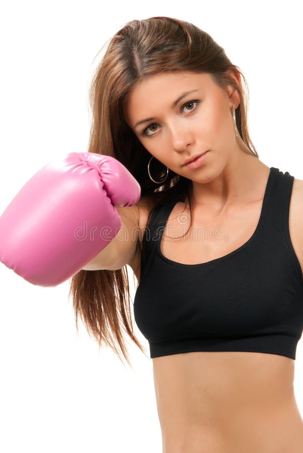 Sport Boxing Woman in pink box gloves. Beautiful Sport Boxing Woman in pink box gloves isolated on a white background stock photography