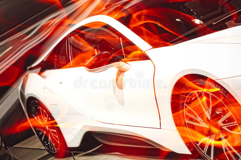 Sport Car. White Sport Car burnout in the motion stock image