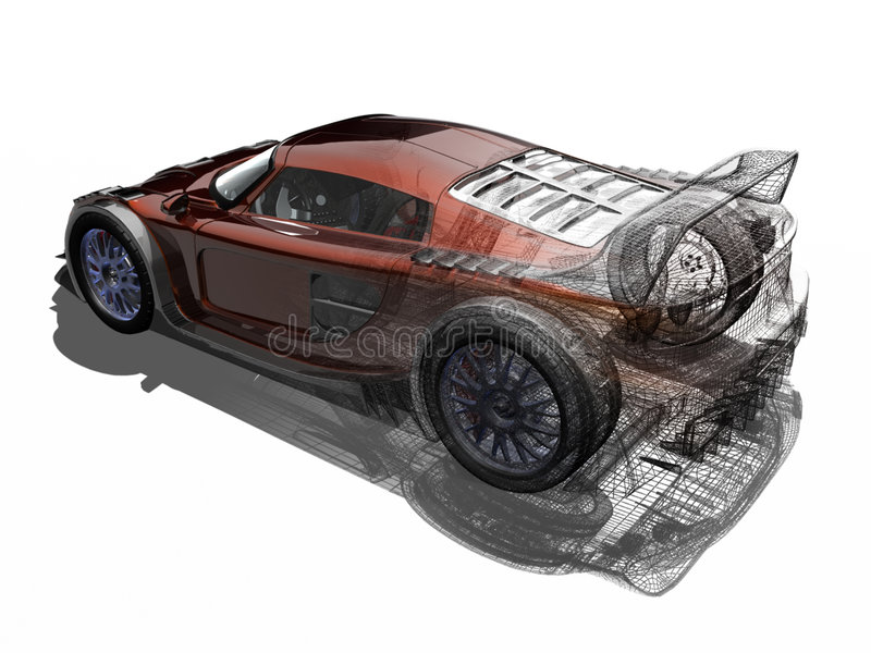 Sport car. 3D render sport car. The illustration talk about of tecnology and proyects. The proces of one proyect stock illustration