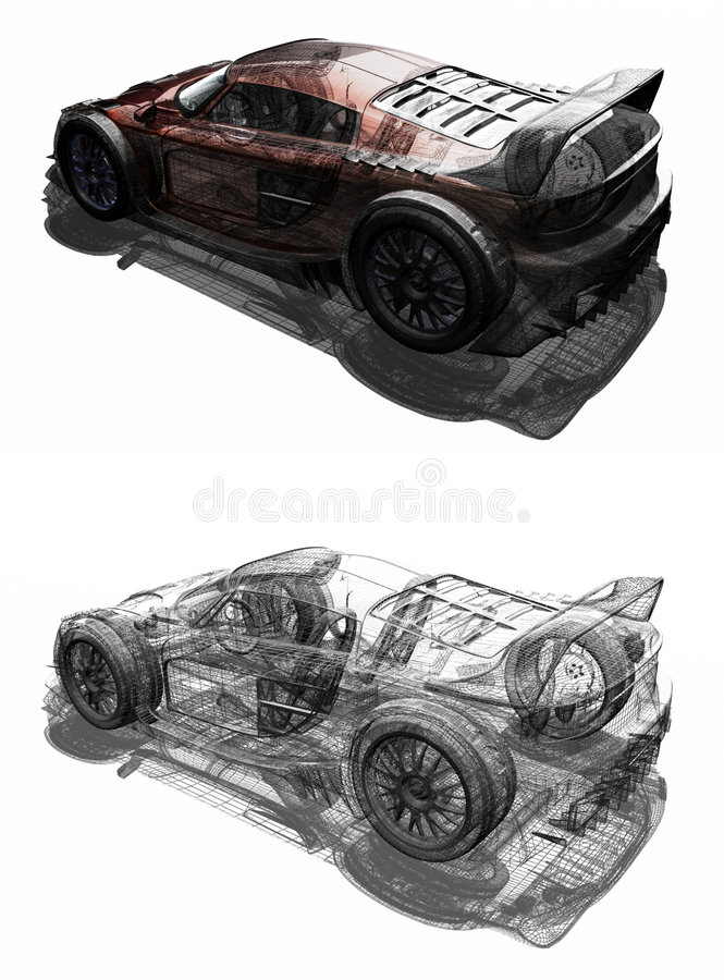 Sport car. 3D render sport car. The illustration talk about of tecnology and proyects. The proces of one proyect royalty free illustration