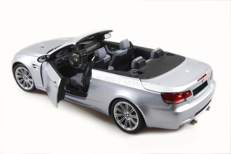 Sport car convertible. Silver bmw m3 on a white background stock images