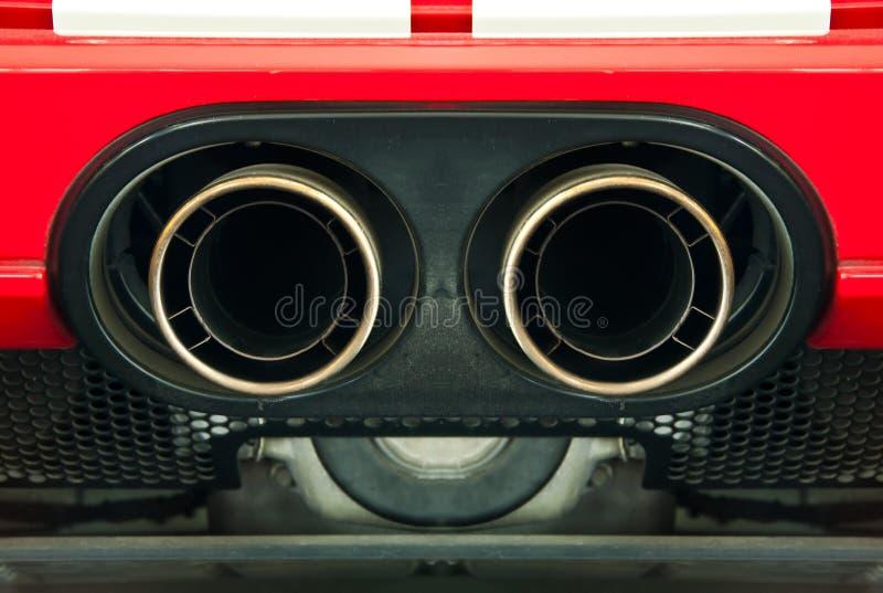 Sport car exhaust pipe. stock photos
