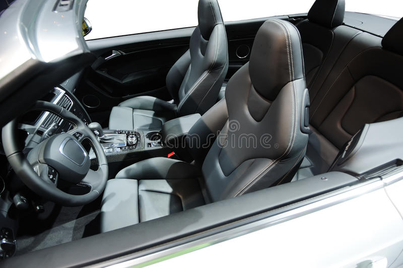 Sport car interior. A silver sport car interior royalty free stock image