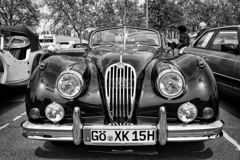 Sport car Jaguar XK140 Roadster, (black and white). BERLIN - MAY 11: Sport car Jaguar XK140 Roadster, (black and white), 26th Oldtimer-Tage Berlin-Brandenburg stock images