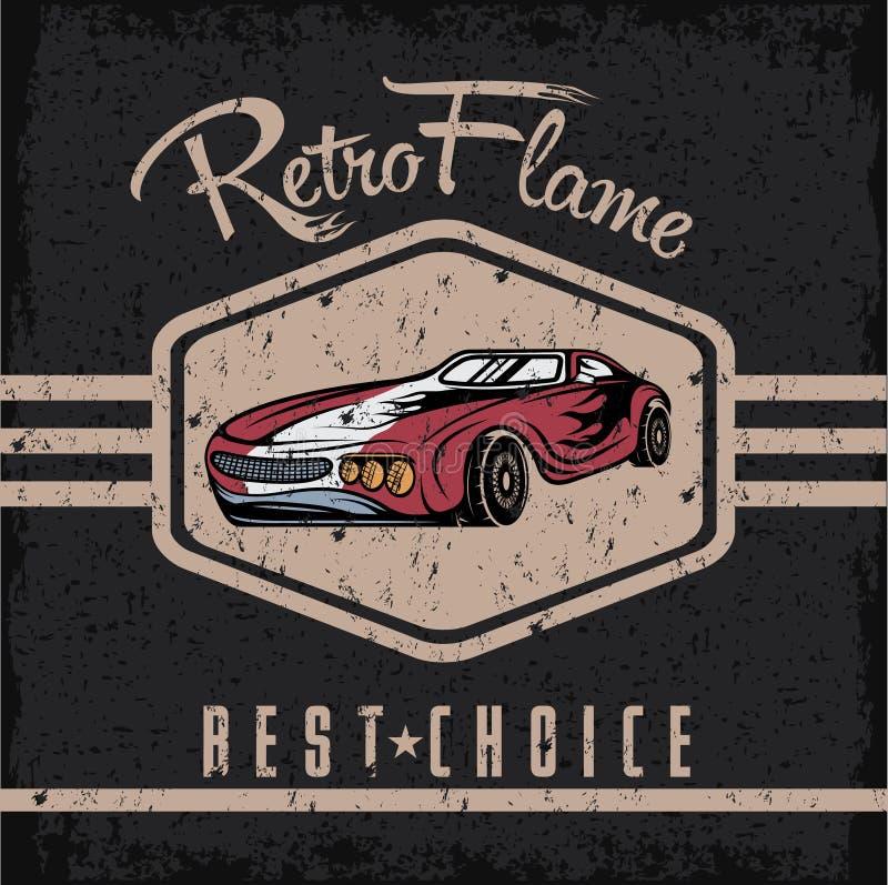Sport car old vintage grunge poster. Retro sport car old vintage grunge poster stock illustration