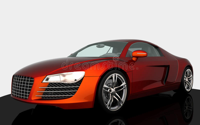 Sport car. Orange sport car on white royalty free illustration