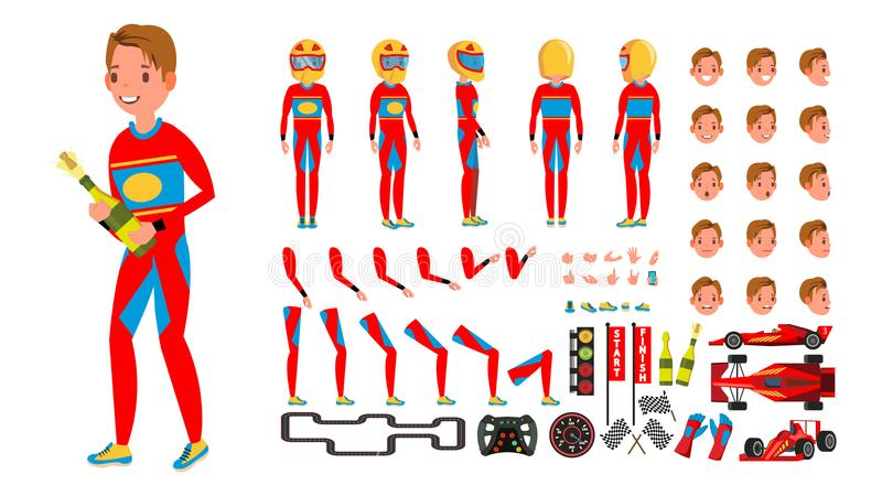Sport Car Racer Male Vector. Red Uniform. Rally Race Car Driver. Animated Character Creation Set. Man Full Length, Front stock illustration