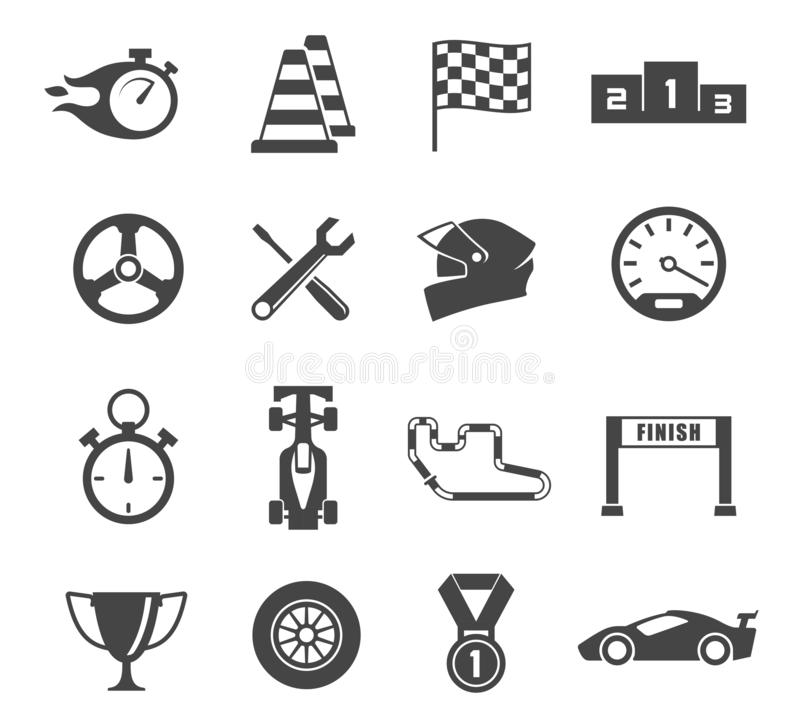 Sport car racing glyph isolated icons set vector illustration