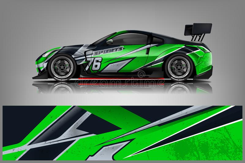 Sport car racing wrap design. vector design. - Vector. Sport car racing wrap design. vector design. Graphic abstract stripe racing background kit designs for royalty free illustration