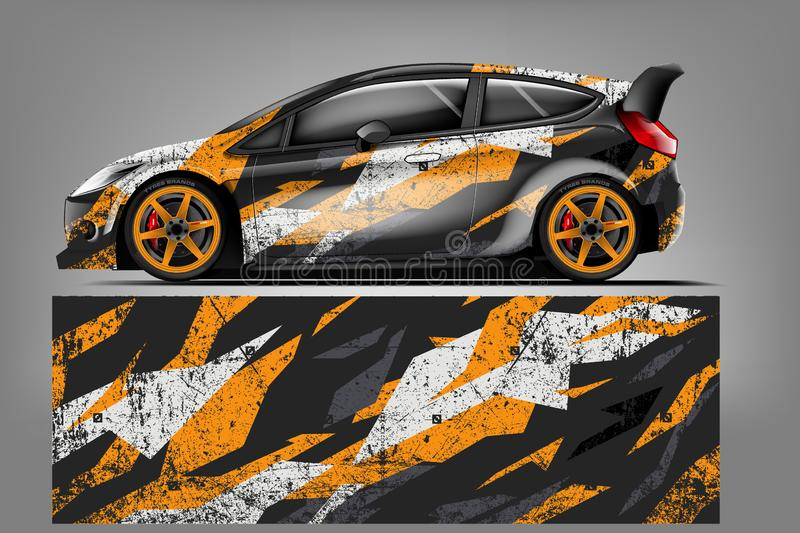 Sport car racing wrap design. vector design. - Vector vector illustration