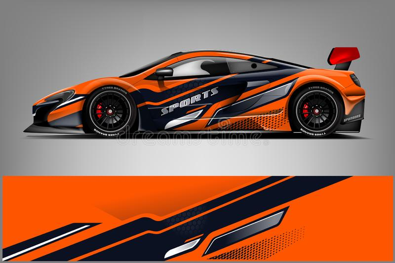 Sport car racing wrap design. vector design. - Vector. Design illustration royalty free illustration