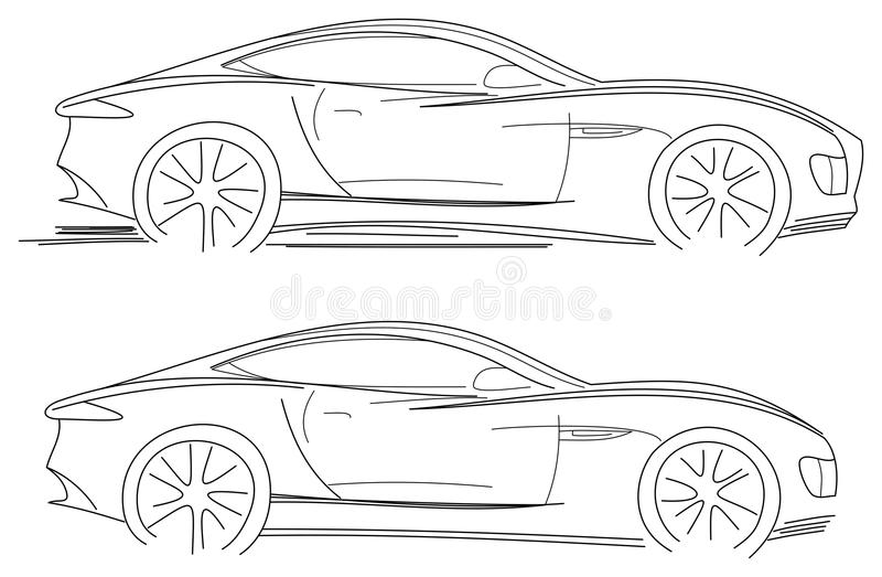 Sport Car Sketch stock vector. Illustration of isolated - 30779025