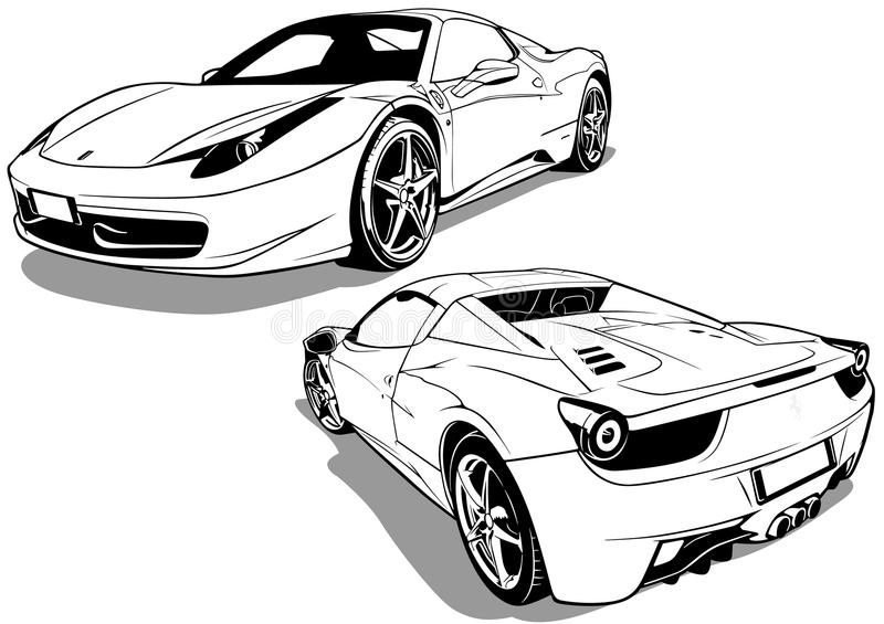 Sport Car Two Views royalty free illustration