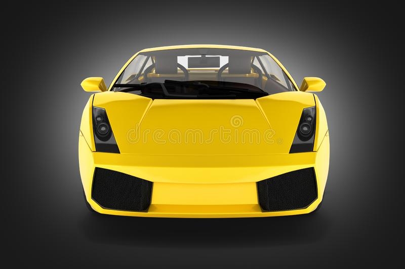 Sport car vehicle front view on black gradient background 3d royalty free illustration