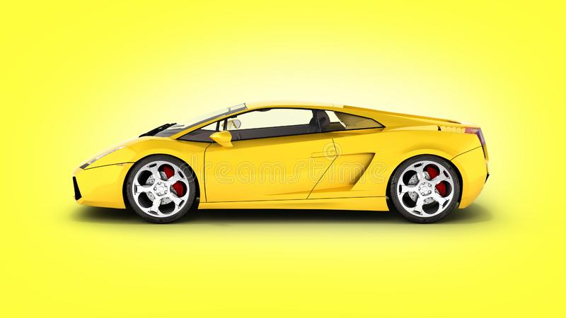 Sport car vehicle side view on yellow gradient background 3d stock illustration