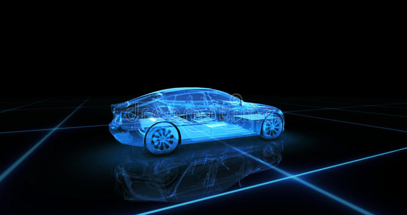Sport car wire model with blue neon ob black background. 3d render royalty free stock images