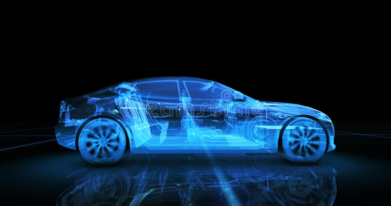Sport car wire model with blue neon ob black background royalty free stock photography