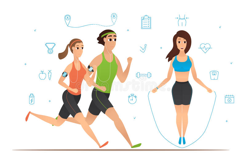 Sport cartoon characters collection. Set of fitness icons. People running, woman workout with jumping rope. Vector illustration royalty free illustration