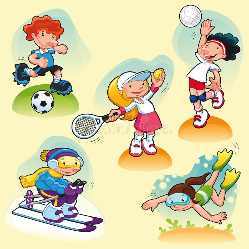 Download Sport Characters With Background. Stock Vector - Illustration of tennis, sport: 23636547