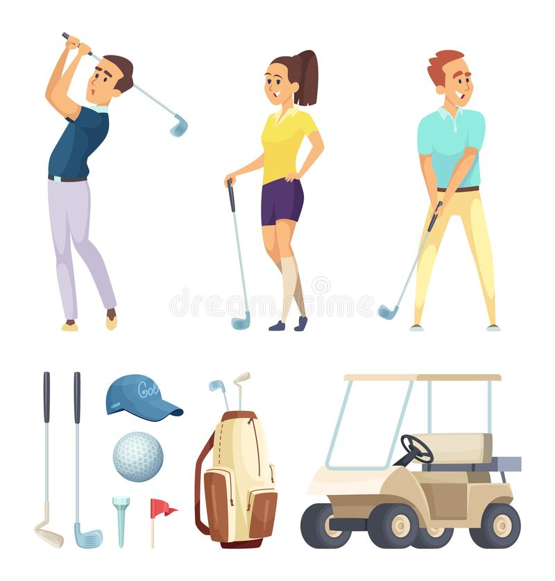 Sport characters and various tools for golf players. Vector cartoon mascots. Illustration of sport player golf, leisure golfer, play and recreation stock illustration