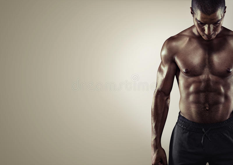 Sport. Close up image of muscular african male. In sports clothing stock photography